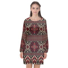Ukrainian Folk Seamless Pattern Ornament Long Sleeve Chiffon Shift Dress