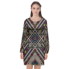 Zentangle Style Geometric Ornament Pattern Long Sleeve Chiffon Shift Dress