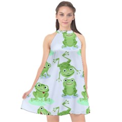 Cute Green Frogs Seamless Pattern Halter Neckline Chiffon Dress