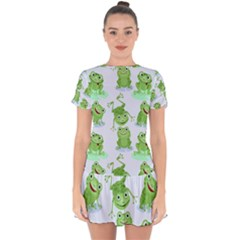 Cute Green Frogs Seamless Pattern Drop Hem Mini Chiffon Dress by Vaneshart