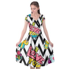 Vector Romantic Love Seamless Pattern Cap Sleeve Wrap Front Dress