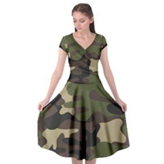 Texture Military Camouflage-repeats Seamless Army Green Hunting Cap Sleeve Wrap Front Dress