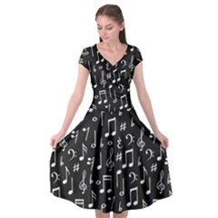 Chalk Music Notes Signs Seamless Pattern Cap Sleeve Wrap Front Dress