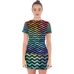 Digital Waves Drop Hem Mini Chiffon Dress by Sparkle