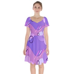 Colorful-abstract-wallpaper-theme Short Sleeve Bardot Dress