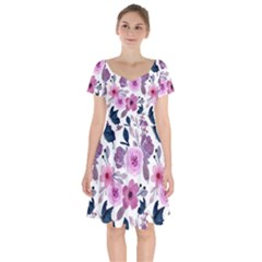 Purple Flower Butterfly With Watercolor Seamless Pattern Short Sleeve Bardot Dress
