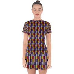 Bandes Formes Colors Drop Hem Mini Chiffon Dress by kcreatif
