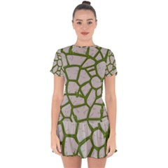 Cartoon Gray Stone Seamless Background Texture Pattern Green Drop Hem Mini Chiffon Dress by BangZart