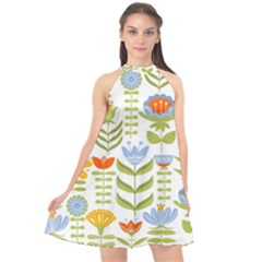 Seamless Pattern With Various Flowers Leaves Folk Motif Halter Neckline Chiffon Dress  by BangZart