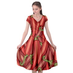 Seamless Chili Pepper Pattern Cap Sleeve Wrap Front Dress by BangZart