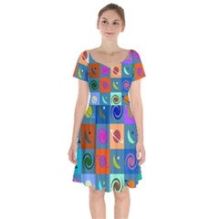 Space Pattern Multicolour Short Sleeve Bardot Dress