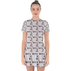 White And Nerdy - Computer Nerds And Geeks Drop Hem Mini Chiffon Dress by DinzDas
