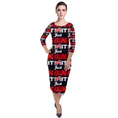 Just Killing It - Silly Toilet Stool Rocket Man Quarter Sleeve Midi Velour Bodycon Dress by DinzDas