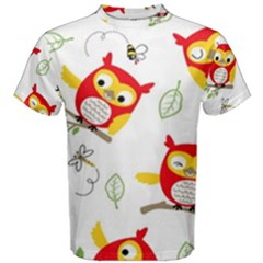 Seamless-pattern-vector-owl-cartoon-with-bugs Men s Cotton Tee