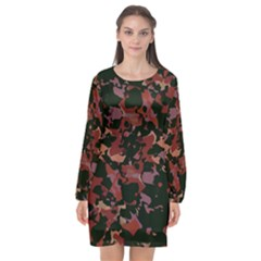 Red Dark Camo Abstract Print Long Sleeve Chiffon Shift Dress  by dflcprintsclothing