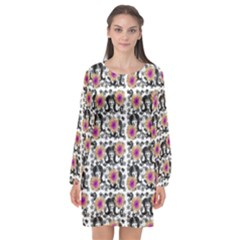 60s Girl Floral White Long Sleeve Chiffon Shift Dress