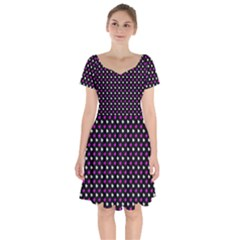 White And Pink Hearts At Black, Vector Handrawn Hearts Pattern Short Sleeve Bardot Dress