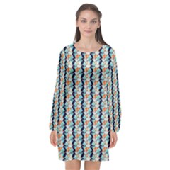 Geometry Colors Long Sleeve Chiffon Shift Dress  by Sparkle