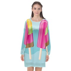 Ice Cream Parlour Long Sleeve Chiffon Shift Dress