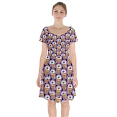 Eyes Cups Short Sleeve Bardot Dress