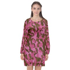 Pink And Brown Camouflage Long Sleeve Chiffon Shift Dress  by SpinnyChairDesigns