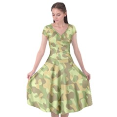 Light Green Brown Yellow Camouflage Pattern Cap Sleeve Wrap Front Dress