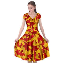 Red And Yellow Camouflage Pattern Cap Sleeve Wrap Front Dress by SpinnyChairDesigns