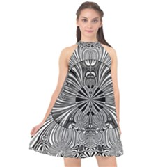 Abstract Art Black And White Floral Intricate Pattern Halter Neckline Chiffon Dress