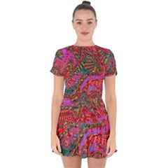 Abstract Art Multicolored Pattern Drop Hem Mini Chiffon Dress