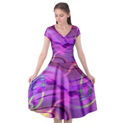 Infinity Painting Purple Cap Sleeve Wrap Front Dress