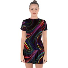 Neon Glow Lines On Black Drop Hem Mini Chiffon Dress by SpinnyChairDesigns