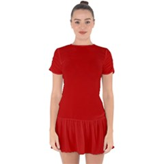 Wavy Rouge Red  Drop Hem Mini Chiffon Dress by Janetaudreywilson