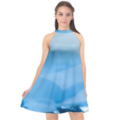 Aquamarine Halter Neckline Chiffon Dress  by Janetaudreywilson