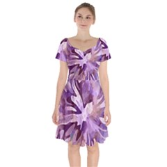 Plum Purple Abstract Floral Pattern Short Sleeve Bardot Dress by SpinnyChairDesigns