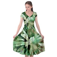 Green Brown Abstract Floral Pattern Cap Sleeve Wrap Front Dress