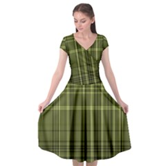 Green Madras Plaid Cap Sleeve Wrap Front Dress