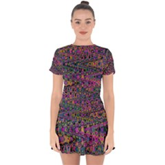 Colorful Bohemian Mosaic Pattern Drop Hem Mini Chiffon Dress