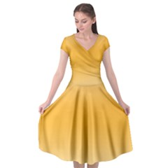 Saffron Yellow And Cream Gradient Ombre Color Cap Sleeve Wrap Front Dress