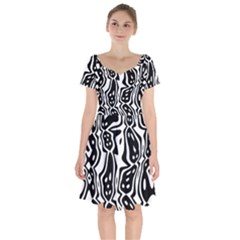 Black And White Abstract Stripe Pattern Short Sleeve Bardot Dress