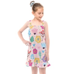 Tekstura-fon-tsvety-berries-flowers-pattern-seamless Kids  Overall Dress by Sobalvarro