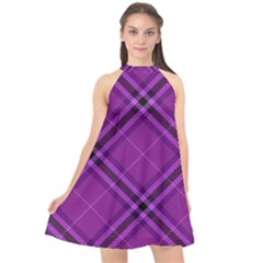 Purple And Black Plaid Halter Neckline Chiffon Dress