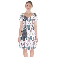 Seamless-cute-cat-pattern-vector Short Sleeve Bardot Dress