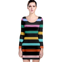 Colorful Mime Black Stripes Long Sleeve Bodycon Dress