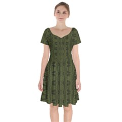 Army Green Color Batik Short Sleeve Bardot Dress by SpinnyChairDesigns