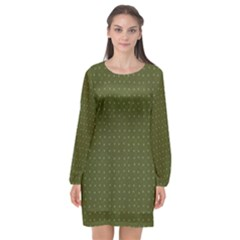 Army Green Color Polka Dots Long Sleeve Chiffon Shift Dress  by SpinnyChairDesigns