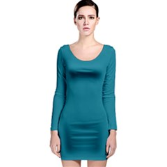 True Teal Blue Color Long Sleeve Bodycon Dress