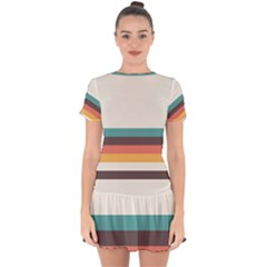 Classic Retro Stripes Drop Hem Mini Chiffon Dress by tmsartbazaar