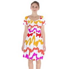 Multicolored Scribble Abstract Pattern Short Sleeve Bardot Dress