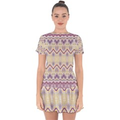 Boho Violet Yellow Drop Hem Mini Chiffon Dress