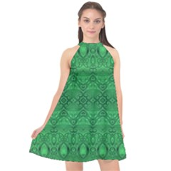Boho Emerald Green Halter Neckline Chiffon Dress